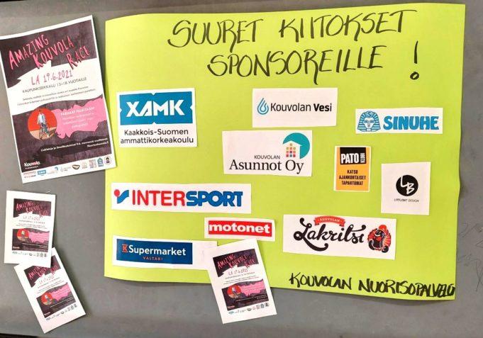 Kiitoskyltti Amazing Kouvola Race kisan sponsoreille