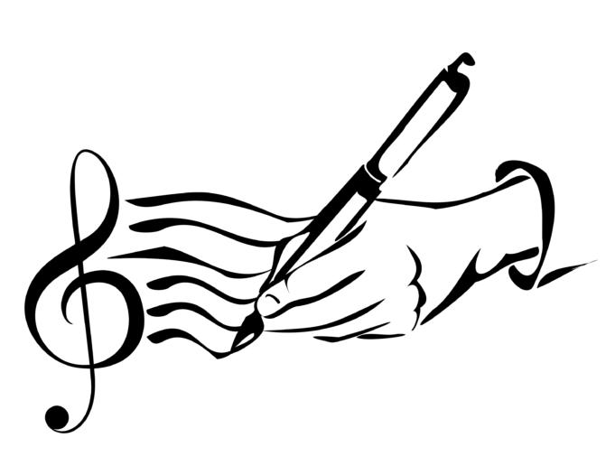 Biisinkirjoituskilpailun logo, tekijä Viktor Velin. Nuottiavain josta lähtee kuusi aaltoilevaa viivaa liittyen sitten kynää pitelevään käteen